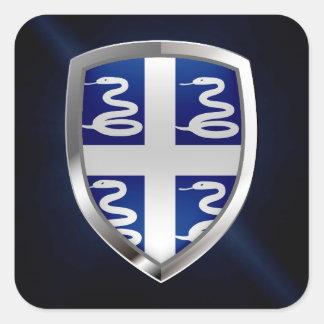 Adesivo Quadrado Emblema metálico de Martinica