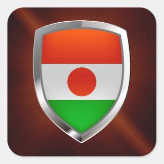 Adesivo Quadrado Emblema metálico de Niger