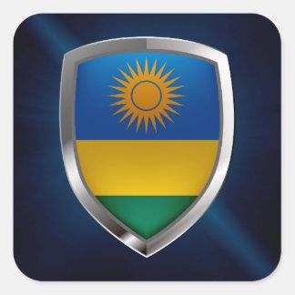 Adesivo Quadrado Emblema metálico de Rwanda