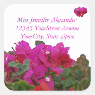 Adesivo Quadrado Endereço do remetente vívido das flores