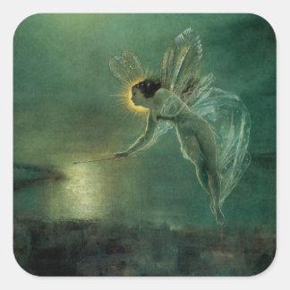 Adesivo Quadrado Espírito da noite por Grimshaw, fada do Victorian