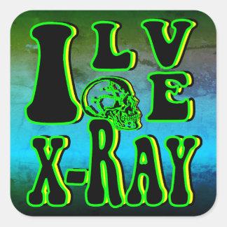 Adesivo Quadrado Eu amo o raio X