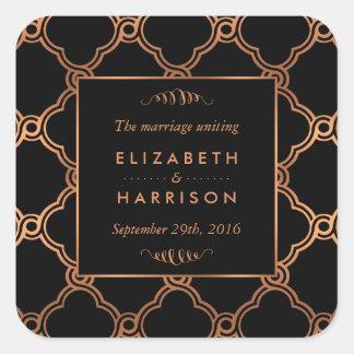Adesivo Quadrado Favor geométrico do casamento de Gatsby do art