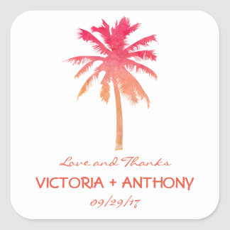 Adesivo Quadrado Favor tropical do casamento de praia da palmeira