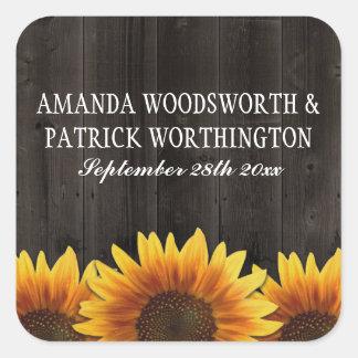 Adesivo Quadrado Favores rústicos de madeira do casamento do
