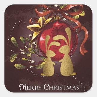 Adesivo Quadrado Feliz Natal encantador morno do visco do n dos