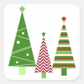 Adesivo Quadrado Feriado verde vermelho das árvores dos cartões de