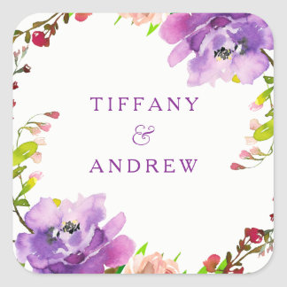 Adesivo Quadrado Festa de noivado floral roxa lindo da aguarela