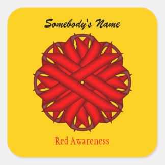 Adesivo Quadrado Fita vermelha da flor