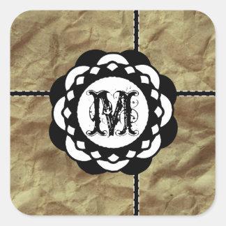 Adesivo Quadrado Fitas de papel espertos do monograma