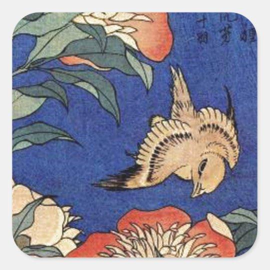 Adesivo Quadrado Flores e um pássaro