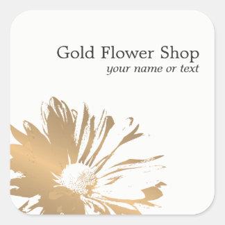 Adesivo Quadrado Florista elegante simples da flor do ouro do falso