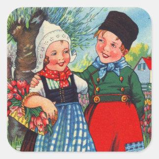 Adesivo Quadrado Gefeliciteerd holandês do hartelijk das crianças