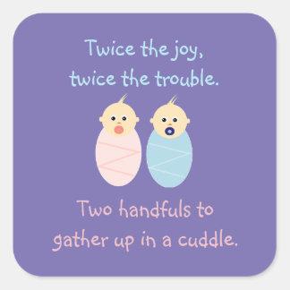 Adesivo Quadrado Gêmeos = duas vezes a alegria