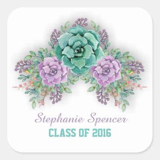 Adesivo Quadrado Graduação floral da aguarela do Succulent elegante