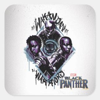 Adesivo Quadrado Grafites dos guerreiros da pantera preta |