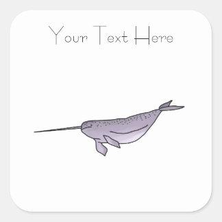 Adesivo Quadrado Ilustração de Digitas Narwhal, animal de mar