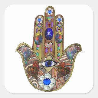 Adesivo Quadrado Impressão da arte do Opal das flores dos corações