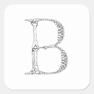 Adesivo Quadrado Inicial do osso da letra B