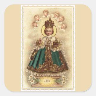 Adesivo Quadrado Jesus infantil de Praga com anjos do querubim
