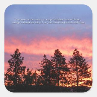 Adesivo Quadrado Laranja azul do nascer do sol da oração da