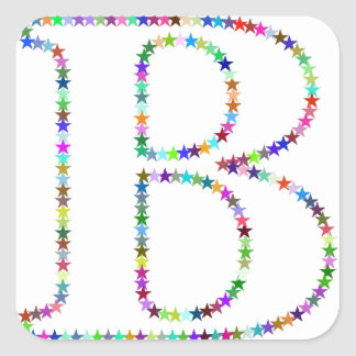 Adesivo Quadrado Letra B da estrela do arco-íris