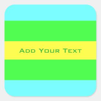 Adesivo Quadrado Listras largas amarelas, verdes, azuis por Shirley