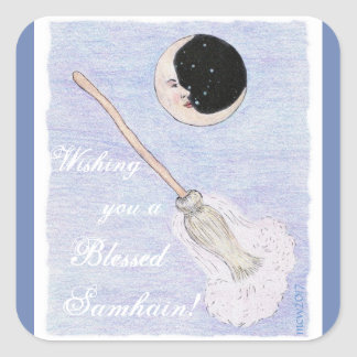 Adesivo Quadrado Lua & vassoura Samhain espirituoso