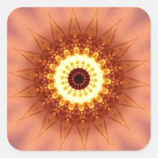 Adesivo Quadrado Mandala chique artística Funky do amarelo do