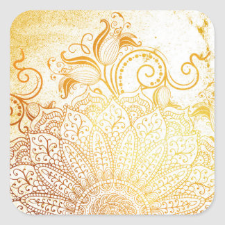 Adesivo Quadrado Mandala - escova dourada