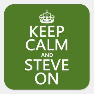 Adesivo Quadrado Mantenha a calma e o Steve em (alguma cor)