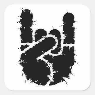 Adesivo Quadrado Mão w/Distortion da rocha