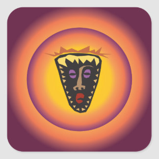 Adesivo Quadrado Máscara tribal Sun de incandescência da