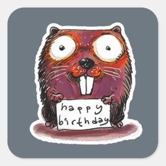 Adesivo Quadrado mensagem do feliz aniversario do castor do estilo