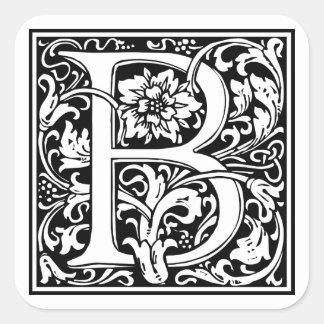 Adesivo Quadrado Monograma floral da letra B do vintage elegante