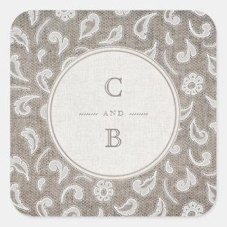 Adesivo Quadrado Monograma rústico do casamento do país do laço e