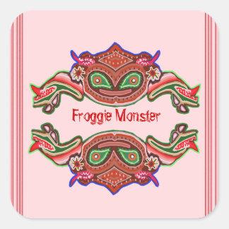 Adesivo Quadrado Monstro de Froggie - desenhos animados do sapo