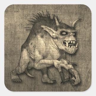 Adesivo Quadrado Monstro Horned e agarrado do Dia das Bruxas