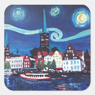 Adesivo Quadrado Noite estrelado em Luebeck Alemanha
