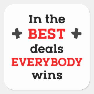 Adesivo Quadrado Nos melhores negócios todos ganha