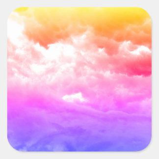 Adesivo Quadrado Nuvem Multi-Colorida brilhante