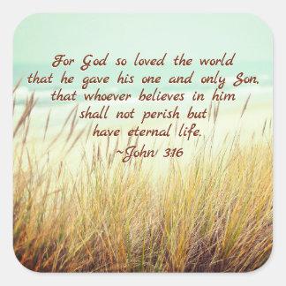 Adesivo Quadrado O 3:16 de John para o deus amou assim o mundo,