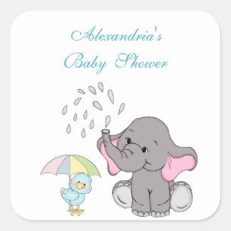 Adesivo Quadrado O chá de fraldas, elefante bonito polvilha,