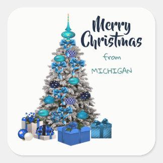 Adesivo Quadrado O Feliz Natal de Michigan decorou a árvore