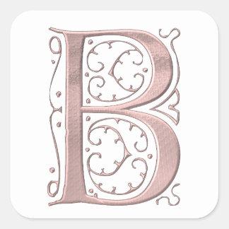 Adesivo Quadrado O monograma B da inicial da letra
