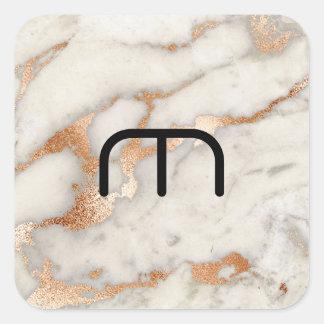 Adesivo Quadrado O ouro cor-de-rosa do coral cora monograma de