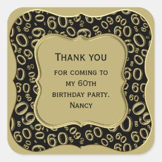 Adesivo Quadrado Obrigado - 60th preto do aniversário e partido do