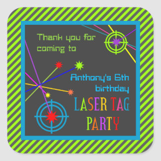 Adesivo Quadrado Obrigado do aniversário do partido do Tag do laser