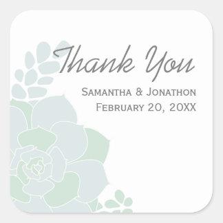 Adesivo Quadrado Obrigado elegante do casamento do Succulent você