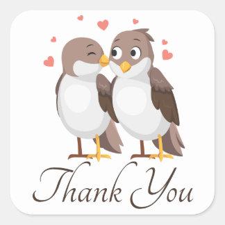 Adesivo Quadrado Obrigado Lovebirds Brown & os pássaros brancos do